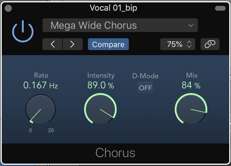 Chorus Stock Plugin on Logic X set to preset Mega Wide Chorus.