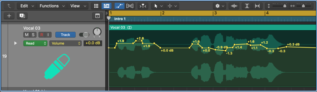 Writing In Automation Manually For The Channel Volume Of A Vocal Part In Logic X.