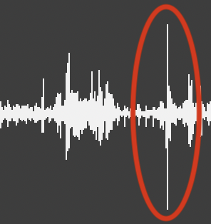 Image showing audio artefact from a vocal recording in the waveform.