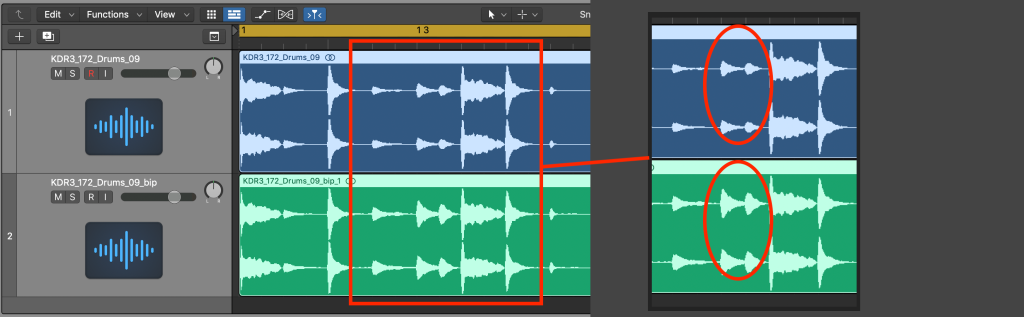 Visual display of two waveforms before and after Parallel Compression is applied, with a zoomed in view to show how the quieter areas of the audio have been increased in amplitude.